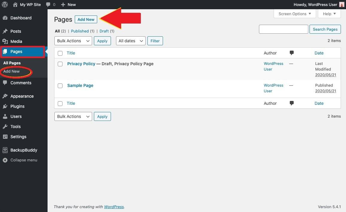 Adding a New Page to a WordPress Website