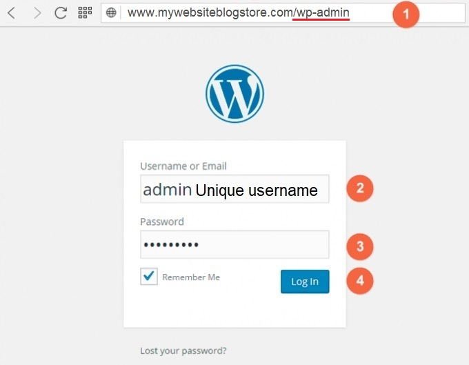 Wordpress - Admin Dashboard Login