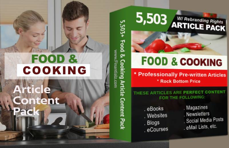 Ready Made Food & Cooking Prewritten Article Content Pack with PLR or Private Label Rights