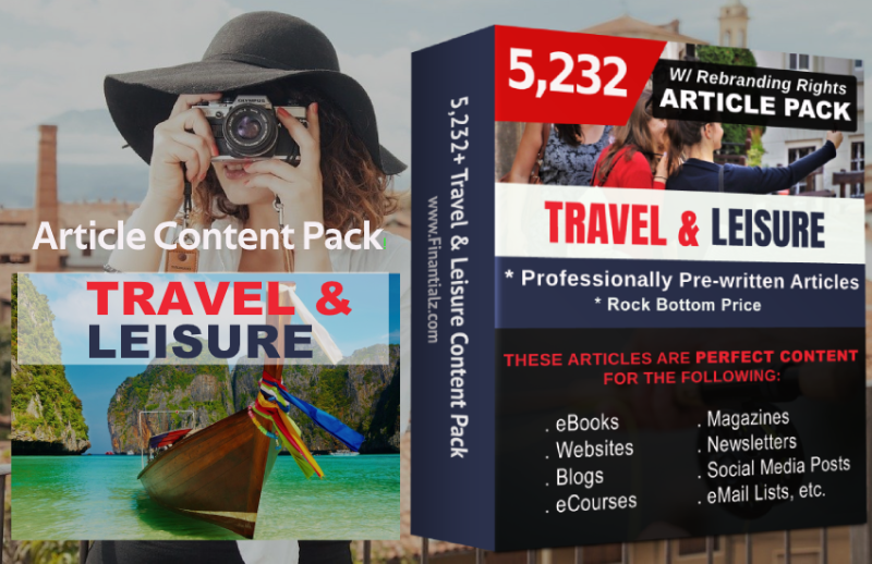 Travel & Leisure-Article Pack with PLR & Editing Rights